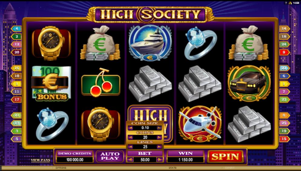 HIGH SOCIETY at all british casino