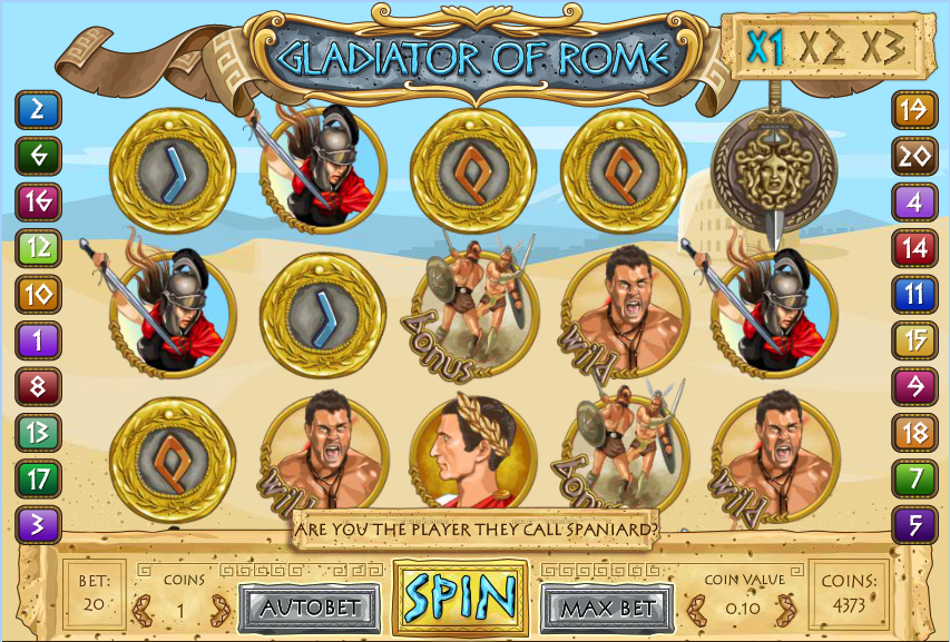 Gladiator of Rome at glimmer casino