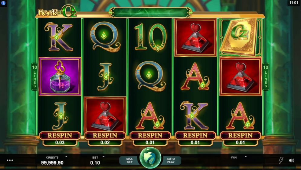 BOOK OF OZ RESPIN FEATURE at scorching slots